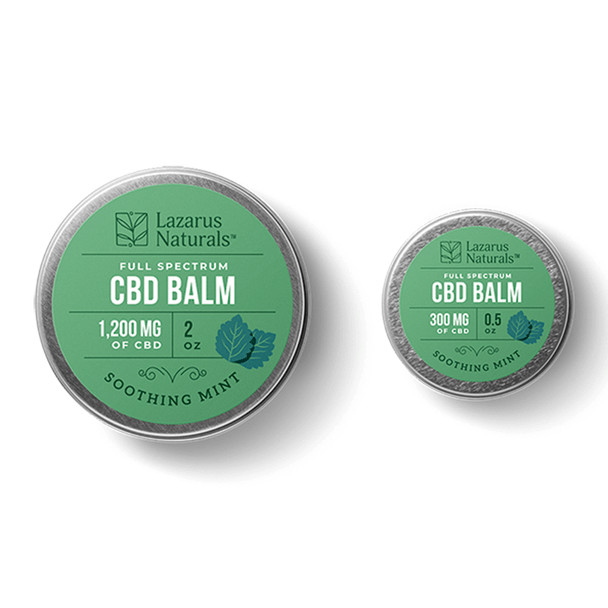 Lazarus Naturals - CBD Topical - Soothing Mint Full Spectrum Balm - 300mg-1200mg