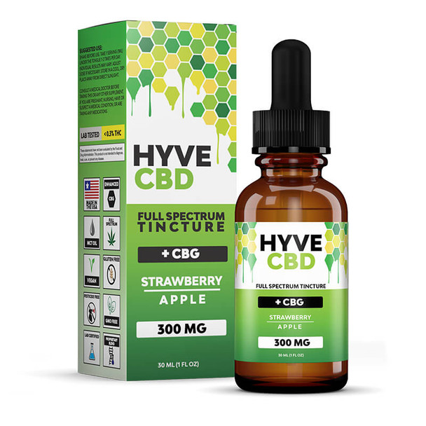 Hyve CBD - CBD Tincture - Full Spectrum Strawberry Apple+CBG - 300mg-1200mg