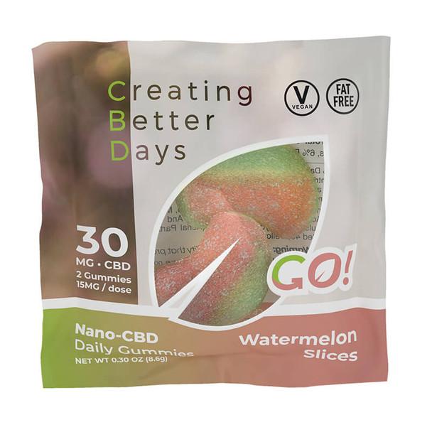 Creating Better Days - CBD Edible - Go! Nano-CBD Watermelon Slices - 30mg