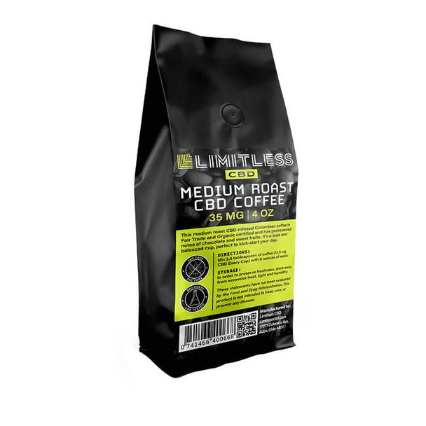 Limitless CBD - CBD Drinks - Full Spectrum Medium Roast Coffee - 35mg-100mg
