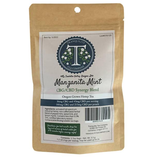Tranquility Tea Company - CBD Tea - Manzanita Mint CBG Synergy Blend - 215mg