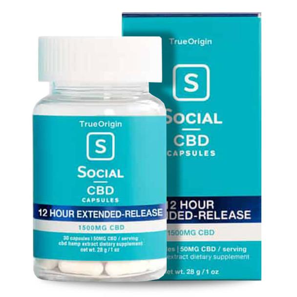 Social - CBD Capsules - Broad Spectrum Extended Release Caps - 1500mg
