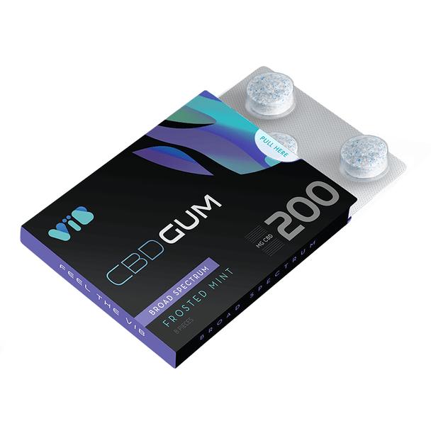 Vib Gum - CBD  Edible - Broad Spectrum Frosted Mint Gum - 200mg