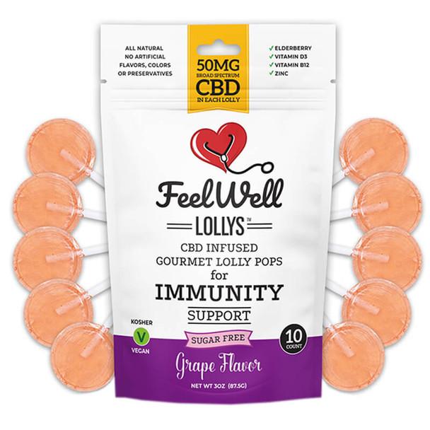 Feel Well Lollys - CBD Edible - Grape Lollipops - 50mg