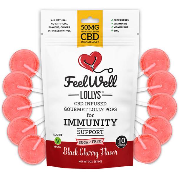 Feel Well Lollys - CBD Edible - Black Cherry Lollipops - 50mg