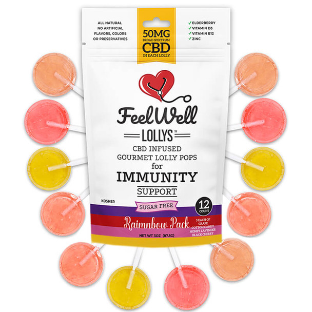 Feel Well Lollys - CBD Edible - Rainbow Lollipops - 50mg