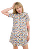 Style No. GD-3   This comfortable pocket dress is made with our Anemone print stretch cotton fabric. The simple crew-neck and short sleeves make this easy to wear and the side pockets and short length will give you an effortless sense of style. The dress casually hangs around the body making this ideal for occasions where you need to look good all day long. AtoZ, A to Z, anemone, travel, print, vacation, work