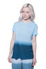 Crew neck, short sleeve, loose fit, light weight, airy ombre tee. It is made from our soft slub textured viscose fabric.