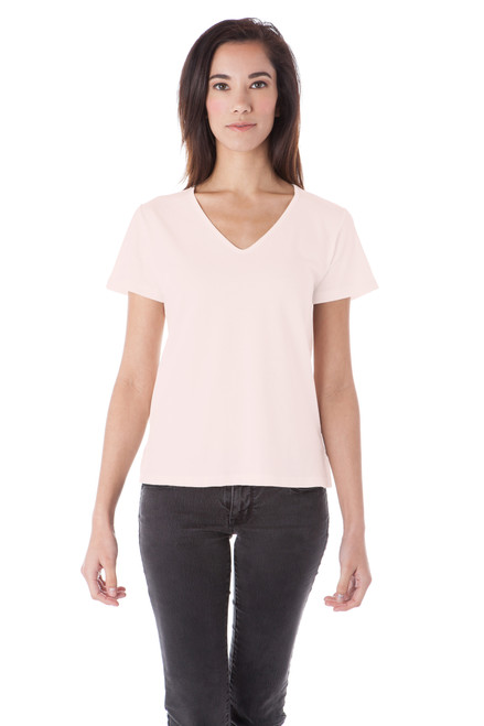 Style B-52   Not just your average V-neck tee, this loose-fitting top has subtle side slits to give you a little extra something. Wear with jeans and a scarf or a comfy pair of our long leggings and enjoy the soft Turkish cotton that this t-shirt is made out of. This tee will keep its shape and won't shrink while washing, ensuring you will be able to wear your new favorite shirt over and over again. AtoZ, A to Z, basic, travel, vacation, work