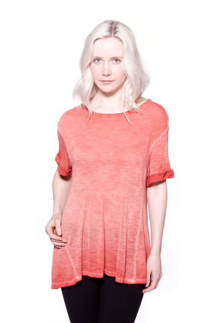 Designed for a sheer layered look, this drapey tee features viscose fabric and cuffed short sleeves. Finished with an antique wash for a laid-back grunge feel. Pair this crew-neck top with skinny jeans and boots or keep it casual in leggings and a scarf. Machine wash with like-colors in warm or cool water, and hang dry for best results. AtoZ, A to Z, basic, tee, top, work, vacation, travel