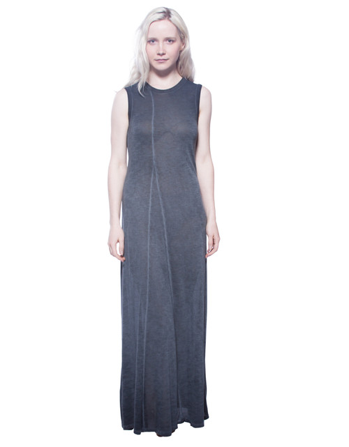 Style No. VD-AF1   Minimalism makes subtle details shine, and our antique washed maxi dress is no exception. Clean lines and a simple scoop neck are all this dress needs to stand out thanks to its unique viscose fabric and full length. Available in black or grey. Be sure to machine wash with like-colors in warm or cool water, and hang dry for best results. Made with 100% viscose fabric. AtoZ, A to Z, basic, vacation, travel, work