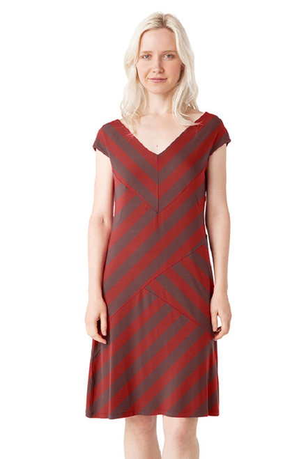 Style No. DD-149   Wear this cute V-neck dress when you want to stand out but stay comfortable. With a wide striped neckline pointing down, and graphic diagonal stripes around the bodice and skirt, this dress has been carefully cut to give you the most flattering look. Lightweight and unlined, our ultra-soft cotton modal shift dress is ideal for warm weather and loose enough to keep you cool. Machine washable and wrinkle-resistant for easy long lasting wear. AtoZ, A to Z, basic, vacation, travel, work