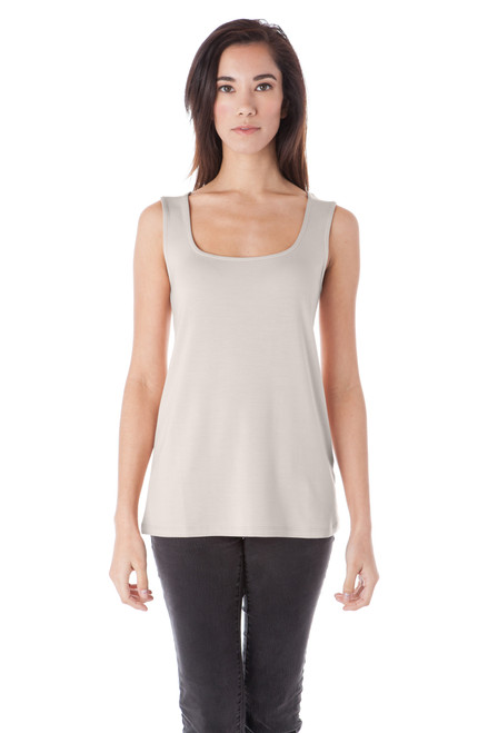 Style D-47   Wear our classic, square-neck tank top with jeans and sandals to create a casual wardrobe that transitions from lounging at home to running errands seamlessly, or pair the tank top with shorts to comfortably spend time outdoors in warm weather. This soft modal tank top has a modern look with a slim fit, and is available in several solid colors. Machine washable for easy cleaning, this tank is a timeless piece of clothing to add to your wardrobe. AtoZ, A to Z, Basic, tank, top, tee, travel, vacation, work