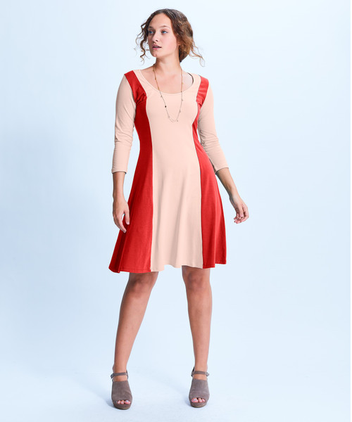 Style No. CDD-153   Prepare to spend all day in our ultra-soft modal u-neck 3/4 sleeve dress. With a simple yet unique neckline and soft fabric, this cozy dress can be worn multiple ways while always keeping you fashionable and comfortable. Wear with our cropped leggings in the day and easily transition into night with a bold necklace and heels. Made with our durable fabric, this knee-length dress is machine washable and wrinkle-free for easy cleaning. AtoZ, A to Z,  basic, color block, vacation, travel, work