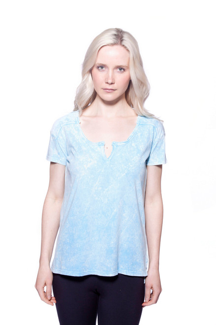 Style no: B-AF38  This antique wash top features a split neck and short sleeves. This is a versatile basic that you will wear again and again, and will look great with your favorite jeans. 100% Turkish cotton. A to Z, AtoZ, top, tee, basic, work, vacation, travel