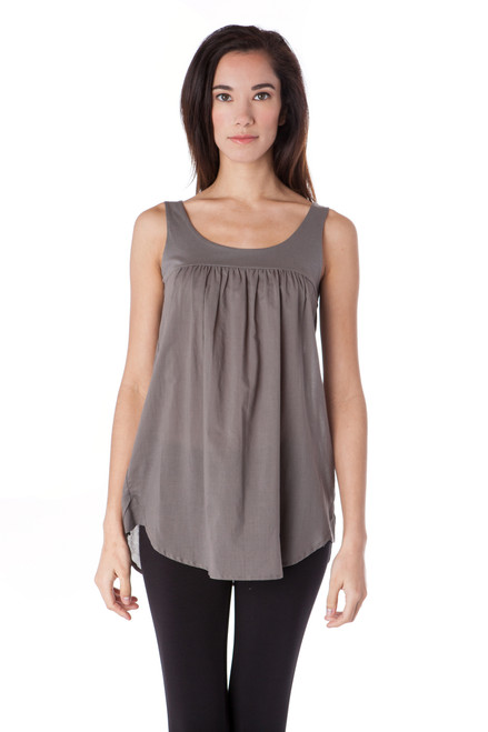 Style No. BN-119   It's time to get playful in this ruffled cotton tank top. Features a simple neckline, delicate hem, and 100% Turkish cotton straps and voile bodice. Our soft fabric is airy and breathable for all-day comfort. This tank is slightly longer in the back, perfect to wear with your favorite pants or leggings and accessorize with cute sandals and a hat. Machine washable for easy cleaning and will retain its shape after each wash to ensure it always fits. AtoZ, A to Z, basic, tee, top, vacation, travel, work, casual