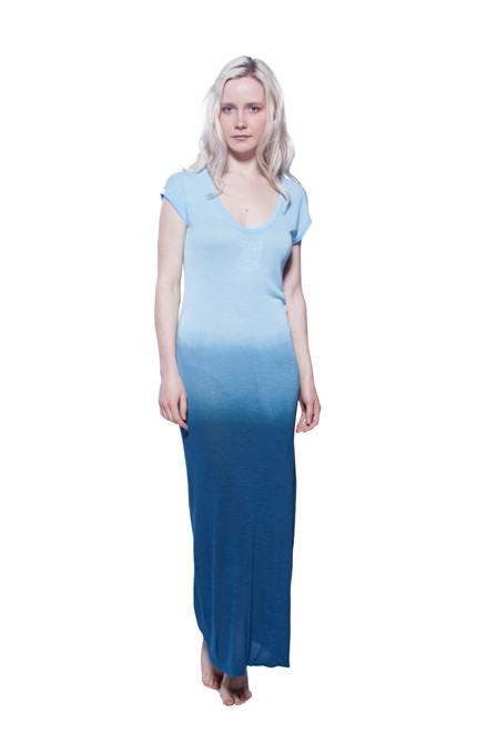 Style No. NR-V9   Embrace warm weather style with this sleeveless ombre maxi dress. Wear this cool piece frontwards or backwards, for either an extra low neckline or an extra low back. You can also wear this as a swimsuit cover-up or as a staple piece to your summer festival outfit. Available in summer blue. Be sure to machine wash with like-colors in warm or cool water, and hang dry for best results. Made with 100% soft slub viscose fabric. AtoZ, A to Z, basic, vacation, occasion