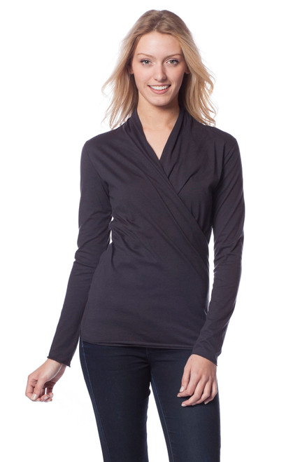 Style No: BN-F7   We consider this long sleeve cotton wrap top a staple piece in our closet. The overlapping v-neckline and slim fit is both flattering and comfortable and the long hem makes this easy to tuck into skirts or pants. Dress is up with jewelry or keep it simple under our quilted vest. Made with 100% tissue-weight Turkish cotton, this top is a favorite among our customers. Our durable fabric is designed to keep its shape and soft texture even with repeated machine washing. AtoZ, A to Z, basic, work, travel, vacation