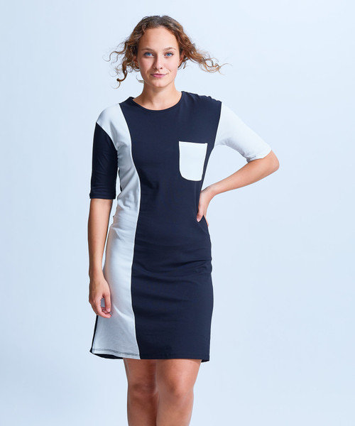 Style No. CDD-153   Prepare to spend all day in our ultra-soft modal u-neck 3/4 sleeve dress. With a simple yet unique neckline and soft fabric, this cozy dress can be worn multiple ways while always keeping you fashionable and comfortable. Wear with our cropped leggings in the day and easily transition into night with a bold necklace and heels. Made with our durable fabric, this knee-length dress is machine washable and wrinkle-free for easy cleaning. AtoZ, A to Z, Shirin, Color block, basic, work, travel, vacation