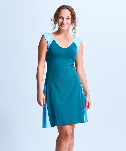 Style No. CDD-146   Prepare to spend all day in our ultra-soft modal / cotton V-neck dress. With fun color-blocking and loose breathable fabric, this dress is perfect for those fun occasions where you need to look good all day long. Wear with sandals in the day and easily transition into night with simple jewelry and heels. Made with our durable fabric, this fit and flare dress is machine washable and wrinkle-free for easy cleaning. AtoZ, A to Z, Shirin, travel, work, vacation, basic