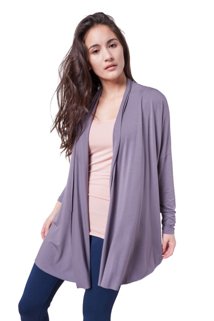 Style No. D-21   This ultra-soft stretchy Modal Drop Shoulder Long Cardigan is great basic to have in your wardrobe. It is great for day to day use, evening or traveling. The classic long cardigan can be easily combined with a basic top to give it a dressy look. Machine washable for easy cleaning and long lasting wrinkle free wear. Available in 3 colors. 95% modal, 5% elastane. Dry flat for best results. AtoZ, A to Z, basic, travel, work, vacation
