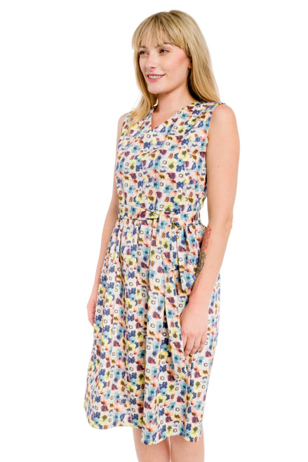 Mid-Calf Tie Belt Print Dress