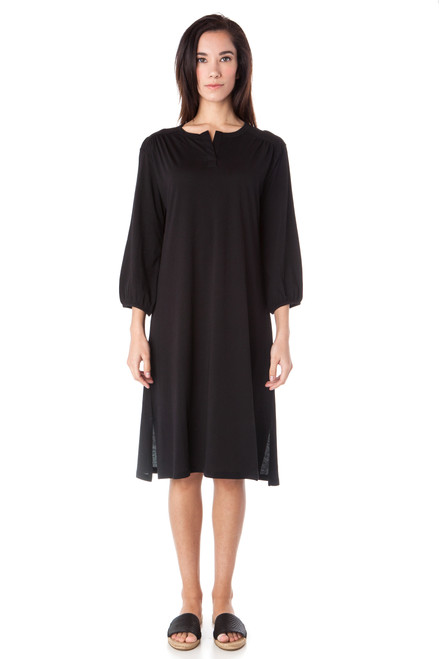Style No. BD-59   Prepare to spend all day in our lightweight cotton dress. With a simple yet unique v-neckline and loose breathable fabric, wear this alone or with your favorite A to Z leggings. Has long sleeves and side slits. Machine wash and hang dry for best results. AtoZ, A to Z, basic
