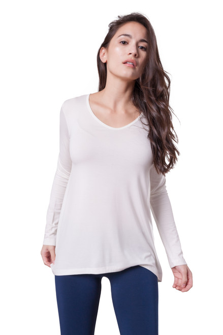 Style D-48   A great basic to have in your wardrobe, this ultra-soft stretchy long sleeve top can be worn alone or layered and has a comfortable relaxed fit. The flattering v-neckline and lightweight modal material make this one of our favorites. This tee is made with 100% natural fibers and is machine washable for easy cleaning and long-lasting wrinkle-free wear. Machine washable, hang dry for best results. AtoZ, A to Z, tee