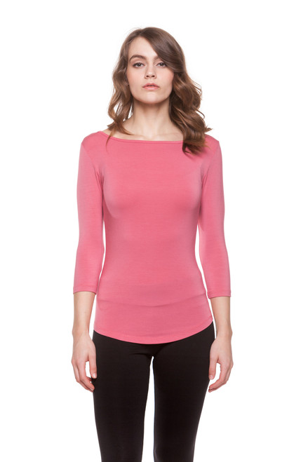 Style D-67  Perfect for wearing with your favorite skirts and tucking into high waisted jeans. Our 3/4 sleeve tee is made with soft breathable fabric and features a tight fit. Machine washable for easy cleaning. 95% modal, 5% elastane. Hang dry for best results. AtoZ, Basic, A to Z, top, tee, blouse
