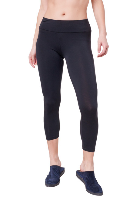 Style DL-1   The softest leggings you'll ever own. Our cropped leggings are made with the finest modal and the natural fibers keep their soft feel and luster even after being machine washed. These high-waisted leggings have an elastic waistband and a lightweight feel. Perfect for wearing under casual dresses and tunics, or for lounging in at home. 95% modal, 5% elastane. Machine washable and wrinkle-free. Hang dry for best results. AtoZ, A to z, basic