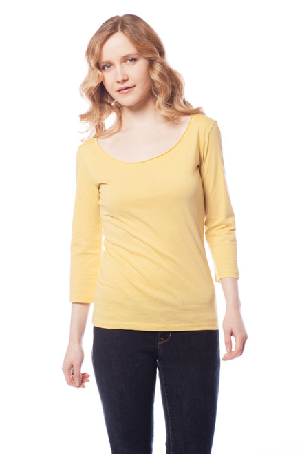 Style no: B-F40  This top comes in several fun and flirty bright colors. The fit is a standard fitted basic, it features a scoop neck line with rolled finish. It is made of 100% tissue weight cotton that is not only soft but durable (Great for travel)! It is machine washable but we recommend to lay flat to dry. Enjoy. AtoZ, A to Z, basic, tee, top