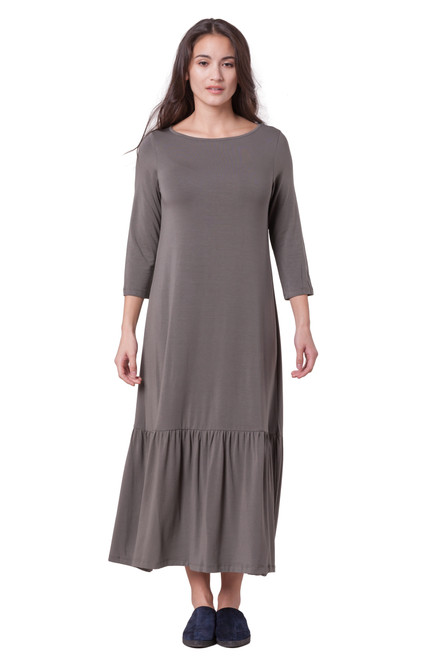 Style No. DD-176   Made with ultra-soft and stretchy modal fabric, this contemporary maxi dress is unlined and features 3/4 sleeves. Machine wash and hang dry for best wrinkle-free results.