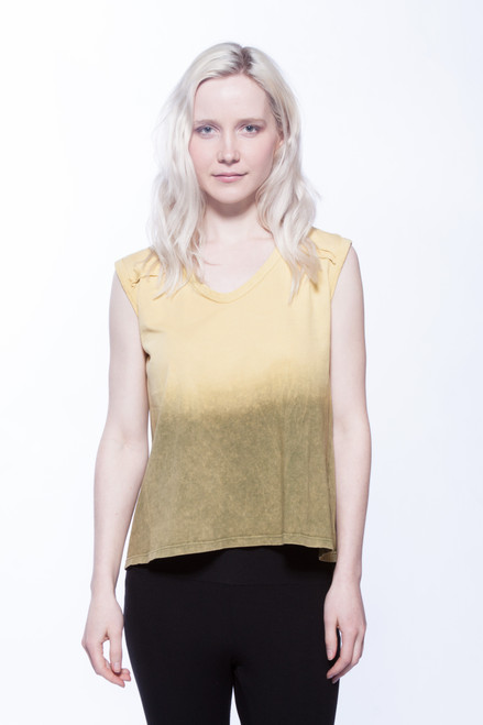 Style No. BN-A105  Update your wardrobe with this loose fit cropped sleeveless tee that features a v-neckline. It is ombre dyed and antique washed for a comfortable, soft casual look with your favorite jeans or leggings. Made of soft Turkish cotton that you will want to wear every day.