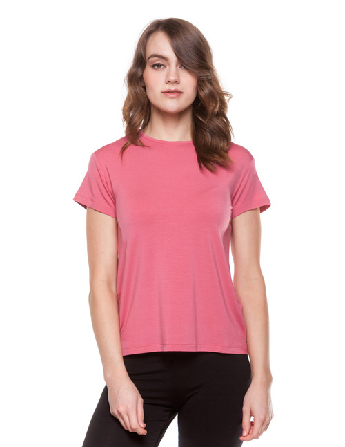 Your basic short sleeve tee with a made with stretchy and ultra-soft modal fabric. Features a relaxed, loose fit to keep you comfortable throughout the day. Machine washable for easy cleaning. 95% modal, 5% elastane. Hang dry for best results.