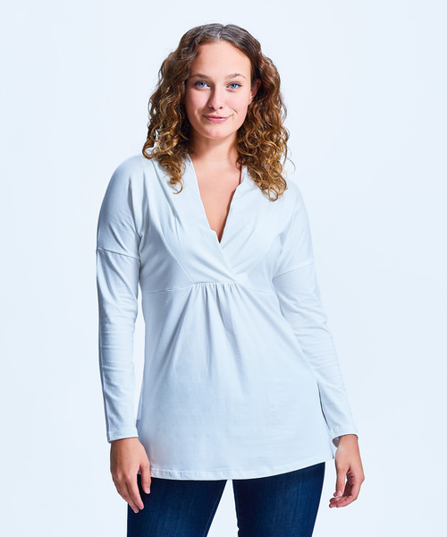 Style No. SS-CDN-46   This shawl v-neck is lightweight and casual, perfect for wearing with skirt or jeans. Made with our ultra-soft cotton modal, this stretchy fabric will stay wrinkle-free so you can wear it all day long. Features long sleeves, a v neck and loose waist. Machine washable for easy cleaning.