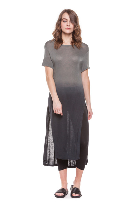 Style No. NR-V8   Embrace warm weather style with this short sleeve ombre caftan. Wear this cool top with shorts, cropped skinny jeans or our ultra-soft cotton modal leggings. You can also wear this as a swimsuit cover-up or as a staple piece to your summer festival outfit. Available in reds, blues and greys. Be sure to machine wash with like-colors in warm or cool water, and hang dry for best results. Made with 100% soft slub viscose fabric.