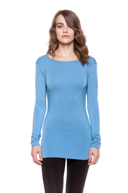 Style BM-1  A great basic to have in your wardrobe, this ultra-soft stretchy long sleeve top can be worn alone or layered with your favorite cardigan, vest or scarf. The classic crew neckline and lightweight modal material make this a favorite staple piece among many of our customers. This tee is made with 100% natural fibers and is machine washable for easy cleaning and long-lasting wrinkle-free wear.