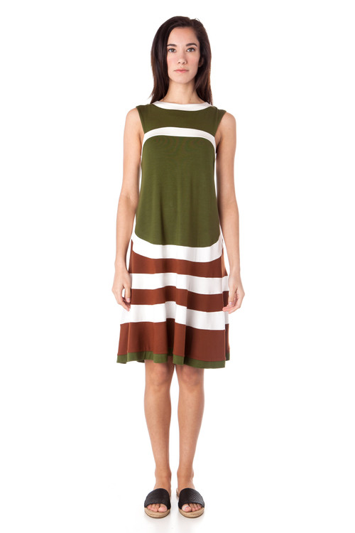 Style DD-115   Our sleeveless stripe dress is a unique piece to add to your collection. The length and high neckline make this appropriate for all occasions and the colorful fabric keeps it fun. Made using ultra-soft cotton modal that has been carefully cut and sewn to give you the most flattering look. Available in 2 beautiful color combinations. Machine washable and wrinkle-resistant for easy cleaning. AtoZ, A to z, basic, travel, vacation, work