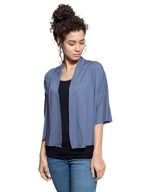 Style No: DN-30   TThis short sleeve cardigan is lightweight and casual, perfect for wearing as a cover-up with a dress or skirt. Made with our ultra-soft cotton modal, this stretchy fabric will stay wrinkle-free so you can wear it all day long. Features short sleeves, a shorter hem and an open front. Machine washable for easy cleaning. AtoZ, A to Z, basic, vacation, travel, work
