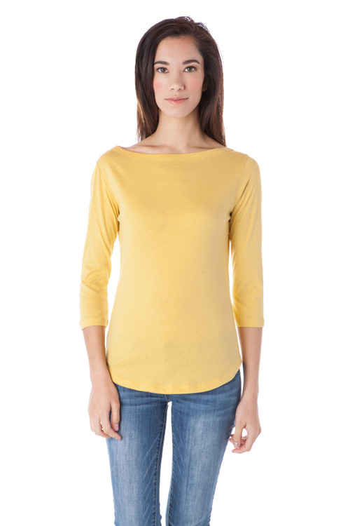 Style B-53   This lightweight breathable tee is made with 100% Turkish cotton and features a boat neck and slim fit for a casual yet feminine look. The 3/4 sleeves make this perfect for layering in the cooler months or wearing alone in the warmer months. Machine washable for easy cleaning. AtoZ, A to Z, basic, tee, top, work, vacation, travel