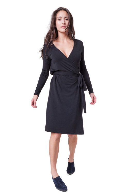 Style DD-178   Your long sleeve v-neck wrap dress. The featured under knee length and belt while still being casual and sophisticated. Our cap sleeve dress is made with ultra-soft modal fabric and features a slightly flared fit at the bottom to keep you comfortable throughout the day. Perfect for the occasion and vacation. Machine washable and wrinkle-free for easy cleaning. AtoZ, A to Z, Basic