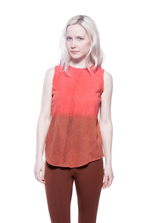 Style No. BN-A106  We're in love with this antique-washed ombré tank top that has a racerback and a vertical seam down the front and back. Made with 100% Turkish cotton for a soft comfortable fit. This tank can be worn with our ultra-soft A-line skirts or your favorite shorts. Available in 4 great colors. This top is machine washable for stress-free cleaning and will retain its shape after each wash to ensure it looks great at all times. AtoZ, A to Z, tee, tank, sleeveless, top, basic, vacation, travel, work