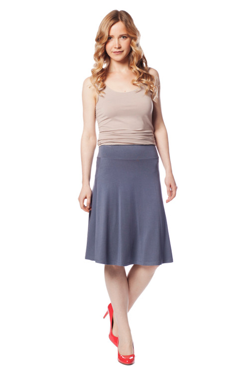 Style DSK-10   Find your own perfect style with this classic A-line skirt. Easily tuck in your favorite tops for a more polished look or layer a simple tank and cardigan for a chic laid-back feel. Features an elastic waistband and ultra-soft modal fabric. Choose from a variety of colors to complement your favorite style. 95% modal, 5% elastane. Machine washable and wrinkle-free. Hang dry for best results. AtoZ, A to Z, Basic, bottom, travel, vacation, work