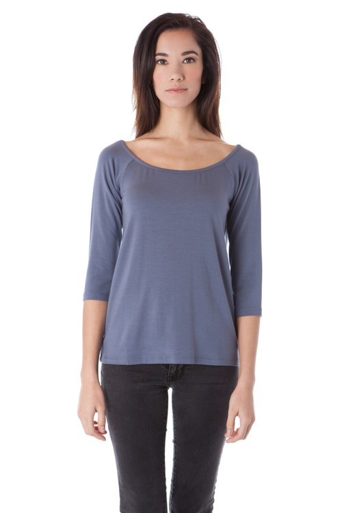 Style D-43  Incorporate simple elegance into your look with this ultra-soft off-the-shoulder top. Made from 100% Turkish cotton modal for quality and all day comfort, this blouse sports a classic boat neck design and 3/4 sleeves for a charming and feminine look. Machine washable and wrinkle-free for easy long lasting wear. AtoZ, A to Z, basic, work, top, tee, vacation, travel