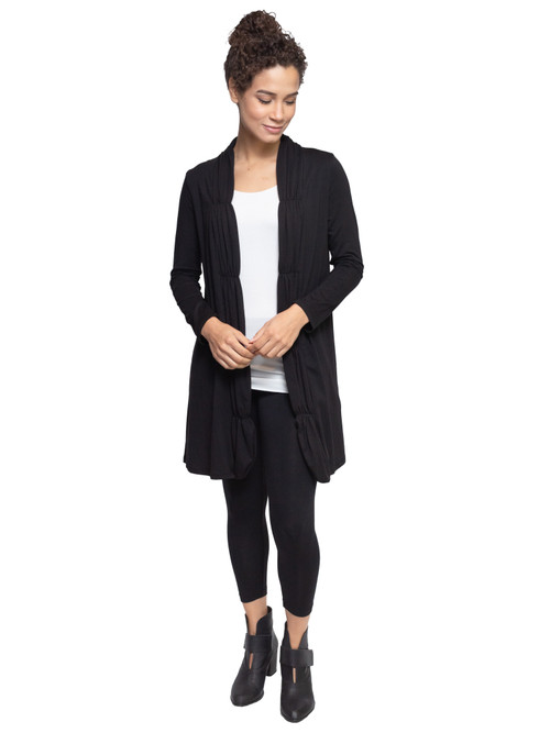 Style No. CDN-55   This ruched long sleeve cardigan is lightweight and casual, perfect for wearing as a cover-up with a top and skirt or jeans. Made with our ultra-soft cotton modal, this stretchy fabric will stay wrinkle-free so you can wear it all day long. Features long sleeves, a long hem and an open front. Machine washable for easy cleaning. AtoZ, A to Z, Shirin, basic, travel, vacation, work