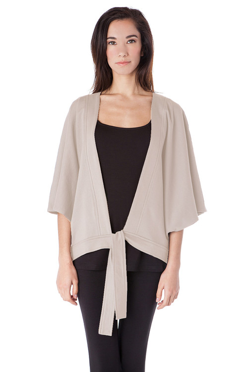 Style EJ-19  Pick up our batwing kimono jacket for a modern boho-chic finish to any of your outfits. Try this paired with our ultra-soft leggings and tanks, or over your favorite little black dress. The minimalist details in this cover-up make this an easy transition piece from day-to-night. Features a v-neckline, relaxed open-front cut and tie waist. Made with 100% 2-ply Turkish cotton in pretty colors of Charcoal and Fog. Machine washable and wrinkle-free for easy stress-free cleaning. AtoZ, A to Z, Basic, travel, vacation, work