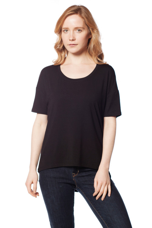 Style D-29  A great basic to have in your wardrobe, this ultra-soft stretchy long sleeve top can be worn with our modal leggings or jeans and has a comfortable relaxed fit throughout. Features a drop shoulder and high-low hem. Made with ultra-soft cotton and is machine washable for easy cleaning and long-lasting wrinkle-free wear. 95% modal, 5% elastane. Hang dry for best results. AtoZ, A to Z, Basic, travel, vacation, work, top, tee
