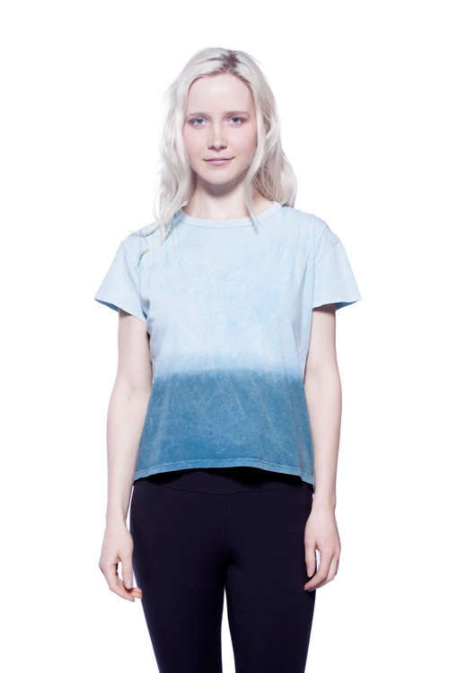 Style No: BN-A104   Update your wardrobe with this loose fit cropped short sleeve tee. Made from soft Turkish cotton that has been dyed to achieve a cool ombré effect. Features a simple crew-neckline and stitch detailing at the shoulders. This tee is machine washable, making it easier to clean and maintain while retaining its shape after each wash to ensure it looks great at all times. Wear with your favorite jeans or one of our ultra-soft A-line skirts for a fun and casual look. 100% Antique Wash Turkish Cotton. AtoZ, A to Z, basic, tee, top, vacation, work, travel