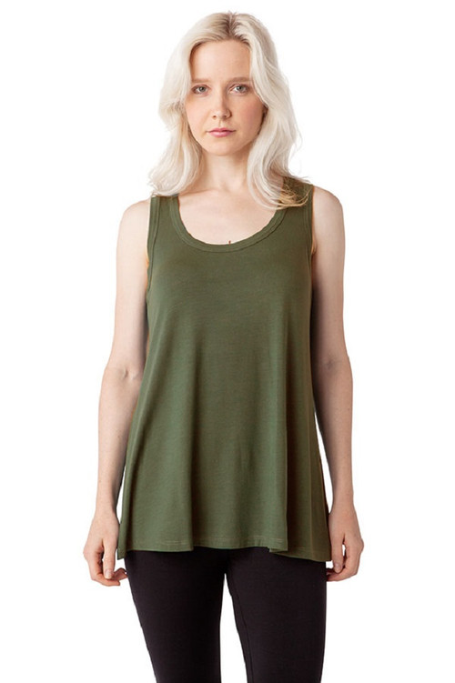 Style No: DN-104  Complete your wardrobe with our ultra-soft modal cotton tank top, made from 100% natural fibers. This loose-fitting racer tank is perfect for layering under your favorite cardigan or sweater and is long enough to wear comfortably by itself. The wide straps and scoop neckline give you a flattering fit that you can dress down with jeans or dress up with a cute skirt. Machine washable and wrinkle-free for easy cleaning. 95% Modal 5% Elastane. AtoZ, A to Z, top, tee, vacation, travel, work, basic