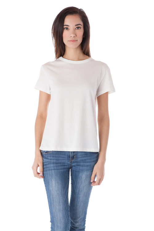 Style B-F41   Keep it simple with this versatile short sleeve crew-neck tee. The fit is cropped and loose but still flattering, making this extra comfortable and easy to layer with your favorite pieces. Made with 100% tissue-weight cotton that is not only soft, but durable and won't lose its shape in the washing machine. Available in 8 colors to suit your specific style. AtoZ, A to Z, basic, top, travel, vacation, work